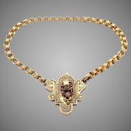 Victorian 10k Yellow Gold Seed Cultured Pearl Link Chain Bracelet 7.75 inch