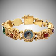 Vintage 14k Yellow Gold Multi Stone Portrait Turquoise Coral Slide Charm Bracelet 6.5 inches