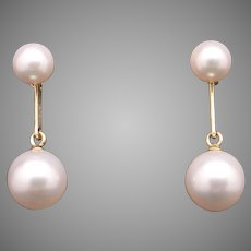 Mikimoto 14k Yellow Gold Round White 7mm Cultured Pearl Dangle Drop Earrings Box