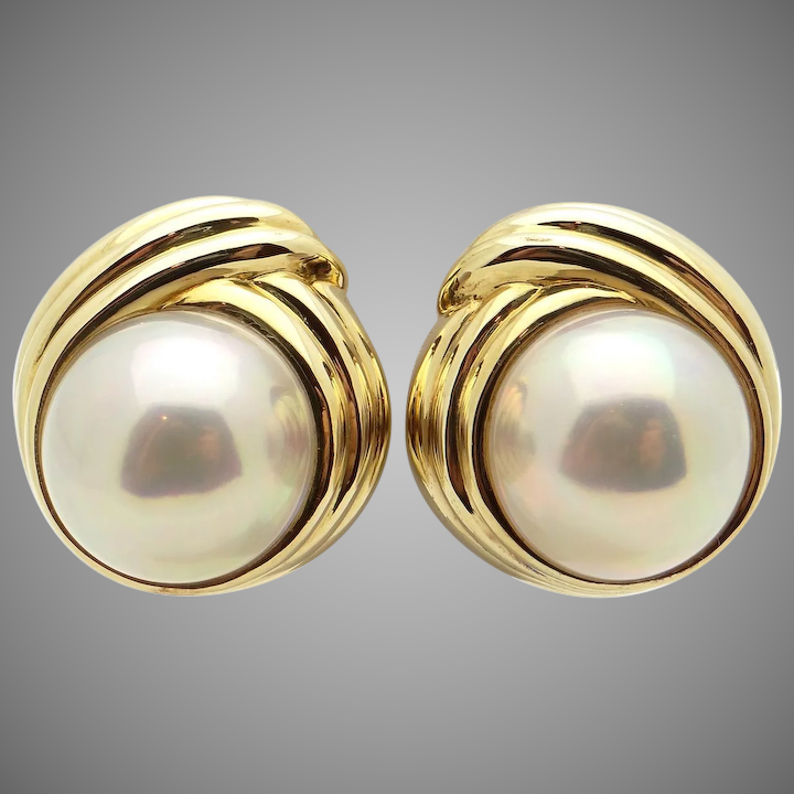 Tiffany Co 18k Yellow Gold Cultured Mabe Pearl On Stud S Earrings