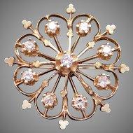 Beautiful 14k Yellow Gold 1ct Round Cut Diamond Circle Flower Brooch Pin