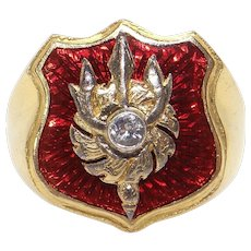 Mens 22k Yellow Red Enamel Cubic Zirconia Fireman Police Badge Band Ring Size 10