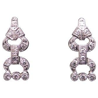 Beautiful Art Deco Platinum .56ct Round Cut Diamond Dangle Earrings Chandelier Style