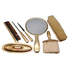 Vintage Tiffany & Co 18k Yellow Gold Vanity Dresser Grooming Set 7 Piece