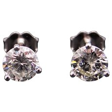 GIA 18k White Gold 1.44ct Round Brilliant Cut Diamond Stud Earrings Martini Set
