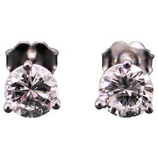 Exceptional GIA 18k White Gold 1.49ct Round Brilliant Cut Diamond Stud Earrings F VS2