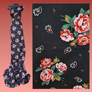 Cotton Sewing Fabric Black with Roses 5 Plus Yards