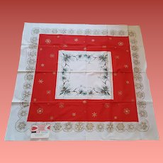 1960s Christmas Table Cloth Mint With Tag 52 X 52