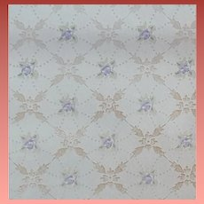 Vintage Wallpaper Lavender Flowers Silver Metallic 1920s - 1930s
