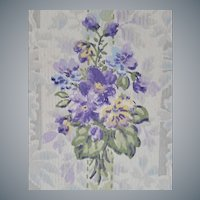 2-1/2 Rolls Vintage Wallpaper Purple Violets 1920s - 1930s