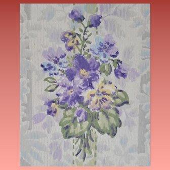 2-1/2 Rolls Vintage Wallpaper Purple Violets 1920s - 1930s