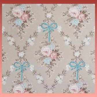 Vintage Wallpaper Blue Bows Roses Flowers Mint