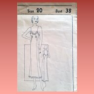 1930s Full Length Slip Sewing Pattern Bust 38