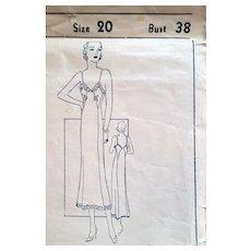 1930s Full Length Slip Sewing Pattern Bust 38
