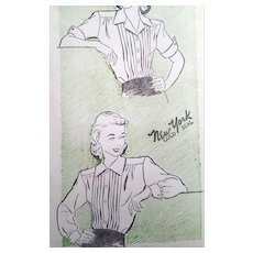 Plus Size 1940s Blouse Vintage Sewing Pattern Bust 46