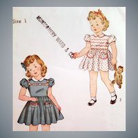 1940s  Sewing Pattern Toddler Girl Dress Panties size 1