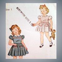 1940s  Sewing Pattern Toddler Girl Dress Panties size 1