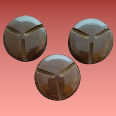 Three Large Carved Bakelite Buttons Cocoa Brown