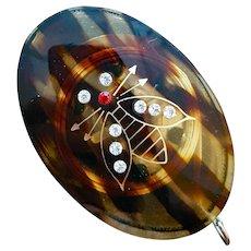 Faux Tortoise Celluloid Tape Measure Bumble Bee Rhinestones