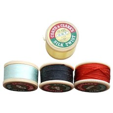4 Spools Silk Twist Thread Vintage USA