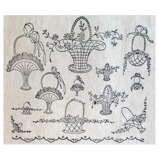 Antique Embroidery Transfers Elaborate Flower Baskets 1910