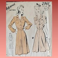 1940s Sewing Pattern Dress Size Large Bust 38