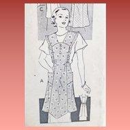 1930s Vintage Apron Sewing Pattern Medium - Large Mail Order