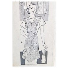 1930s Vintage Apron Sewing Pattern Medium - Large Mail Order