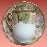 Antique Porcelain Cup and Saucer Lavish Roses Gold Trim