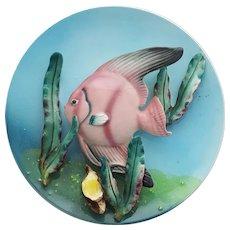 Porcelain 3-D Angel Fish Wall Plate Mid Century Modern