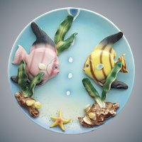 Mid Century Modern Porcelain Angel Fish Wall Plate Japan