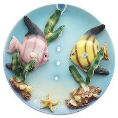 Mid Century Modern Porcelain Angel Fish Wall Plate Japan