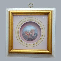 French Faience Limoge Hand Painted Cherubs Shadow Box