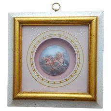 French Faience Limoge Hand Painted Cherubs in Shadow Box