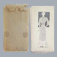 Beautiful 1930s Dress Sewing Pattern Size Large Bust 38