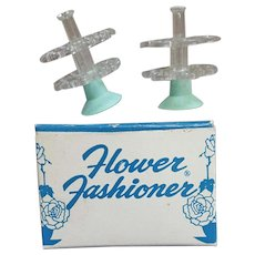 Two 1950s Flower Frog Holders in Box Flower Fashioner