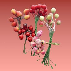 5 Groups of Millinery Fruit Decorations for Hats 40 +