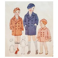 1930s Sewing Pattern  Boys Coat and Hat Toddler Size 3