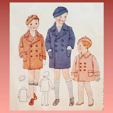 original 1930s Sewing Pattern  Boys Coat and Beret Toddler Size 3