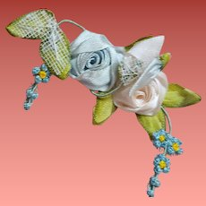 Two Groups 1940s Ribbon Flowers for Doll Hats