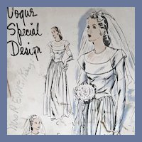 1940s Vogue Wedding Gown Sewing Pattern Bust 36