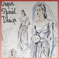 1940s Vogue Wedding Gown Vintage Sewing Pattern Bust 36
