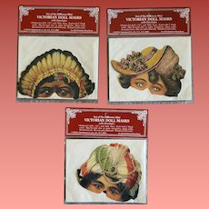 3 Victorian Die Cut Doll Masks Shackman Dated 1982