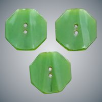 3 Translucent Green Bakelite Octagon Buttons