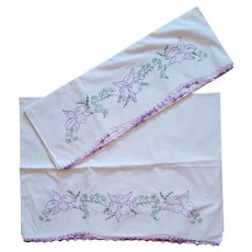 1950s Tube Cotton Pillowcases Orchids and Crochet Trim