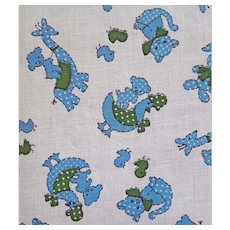 Vintage Cotton Sewing Fabric Baby Print