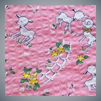 Early Cotton Sewing Fabric Lambs in Pique Weave