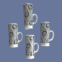 4 Wild Irish Coffee Cups 1970s Swirling Marimekko Style