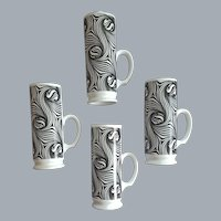 4 Wild Irish Coffee Cups 1970s Swirling Marimekko Style