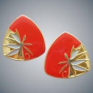 1980s Pierced Earrings Red Gold White Mint